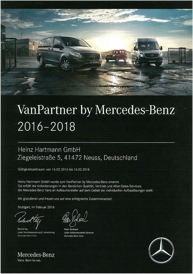 VanPartner Urkunde