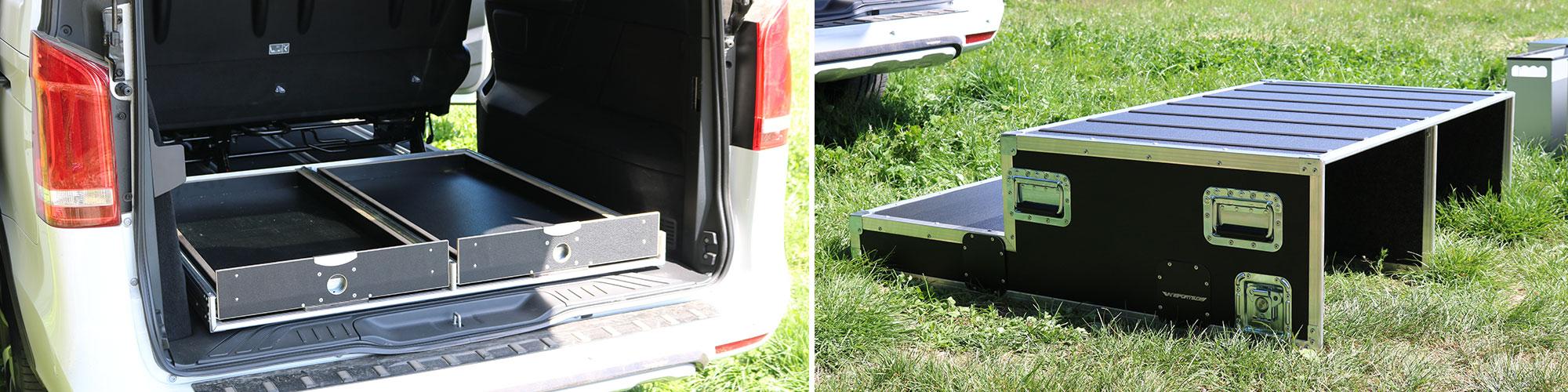 Die vollständig ausgeladene Campingbox einzeln fotografiert