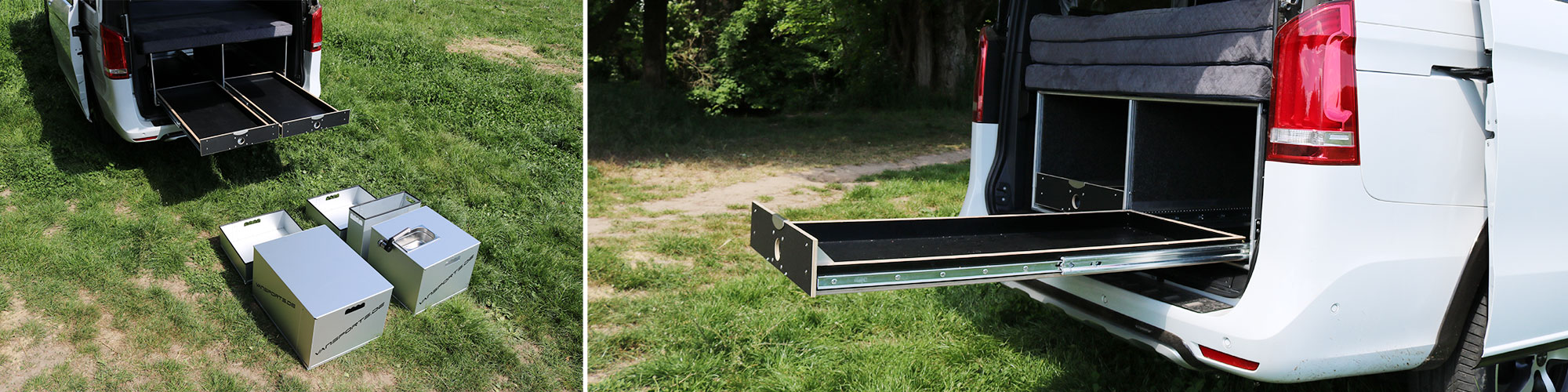 Die Campingbox mit ausgezogenem Schwerlastauszug