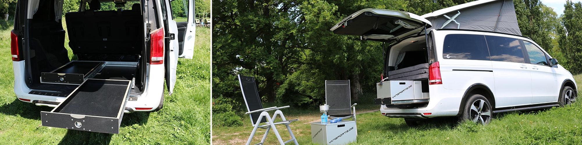 Die ausgefahrenen Schienen der Campingbox für die V-Klasse auf einer Wiese